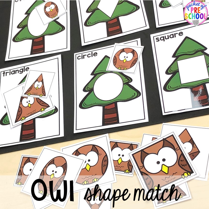 Owl shape match for a nocturnal animals or camping theme! Shape matching games are fun for preschool and pre-k. #preschool #shapegame #prek