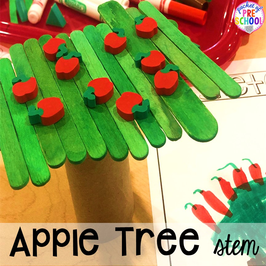 Apple STEM plus more apple theme activities and centers perfect for preschool, pre-k, and kindergarten. #appletheme #preschool #prek #appleactivities