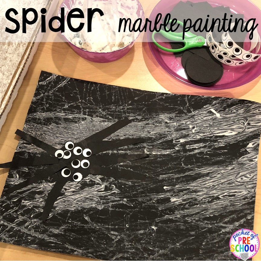 Spider web marble painting for a Nocturnal Animals theme in preschool, pre-k, or kindergarten. #preschool #prek #nocturnalanimalstheme #playdough