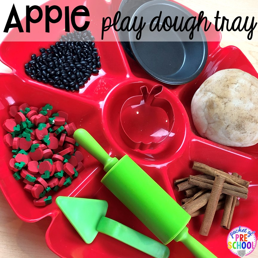 Apple play dough tray plus more apple theme activities and centers perfect for preschool, pre-k, and kindergarten. #appletheme #preschool #prek #appleactivities