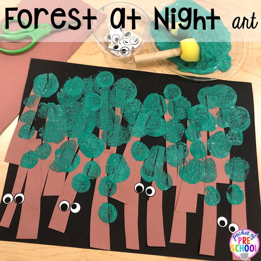 Forest at night art for a Nocturnal Animals theme in preschool, pre-k, or kindergarten. #preschool #prek #nocturnalanimalstheme #artcenter