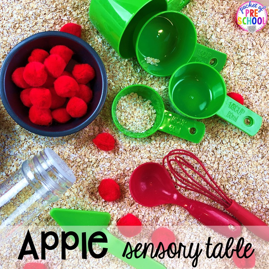 Apple sensory table plus more apple theme activities and centers perfect for preschool, pre-k, and kindergarten. #appletheme #preschool #prek #appleactivities