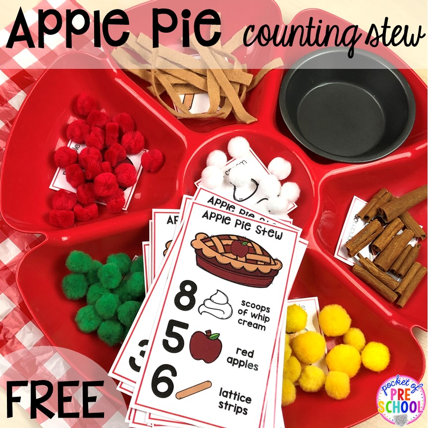 Apple pie counting stew counting game plus more apple activities and centers perfect for preschool, pre-k, and kindergarten. #appletheme #preschool #prek #appleactivities