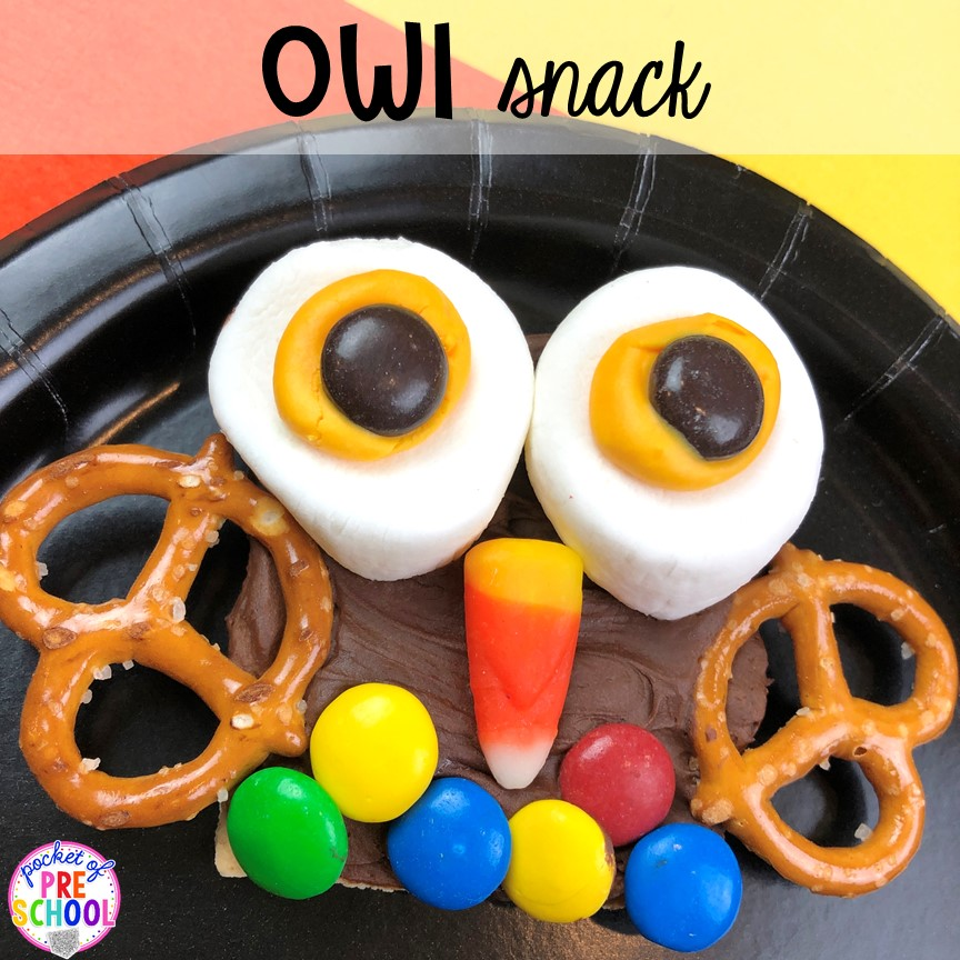 Owl snack for fun food Friday for a Nocturnal Animals theme in preschool, pre-k, or kindergarten. #preschool #prek #nocturnalanimalstheme