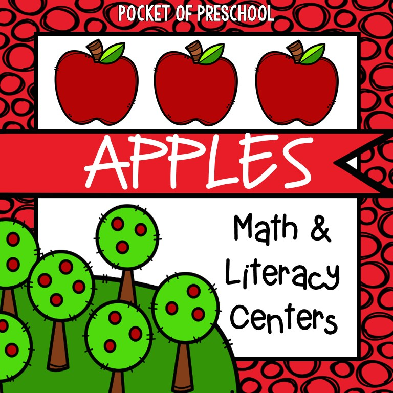 Apple math and literacy center printables made for preschool, pre-k, and kindergarten.