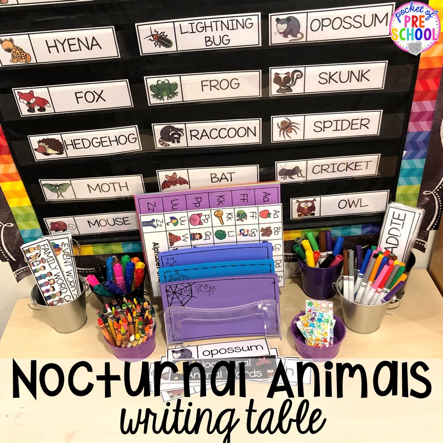 Nocturnal animals writing table or writing center! Plus more Nocturnal Animals activities and centers for preschool, pre-k, and kindergarten. #preschool #prek #nocturnalanimalstheme #falltheme