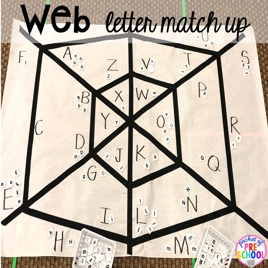 Spider web letter game (could do sight words or numbers too) Plus more Nocturnal Animals activities and centers for preschool, pre-k, and kindergarten. #preschool #prek #nocturnalanimalstheme #falltheme