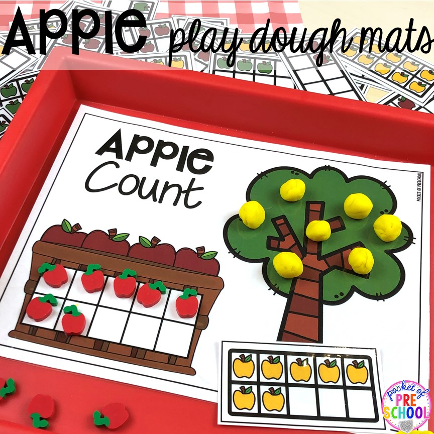 Apple play dough mats plus more apple activities and centers perfect for preschool, pre-k, and kindergarten. #appletheme #preschool #prek #appleactivities