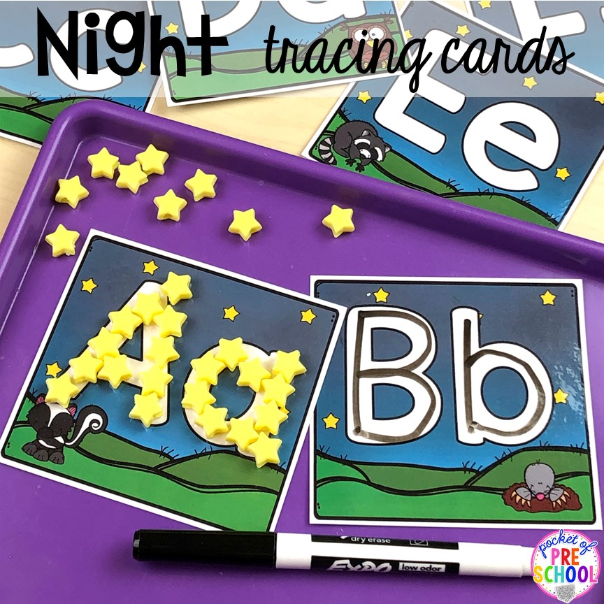 Night animals letter tracing cards for handwriting. Plus more Nocturnal Animals activities and centers for preschool, pre-k, and kindergarten. #preschool #prek #nocturnalanimalstheme #falltheme