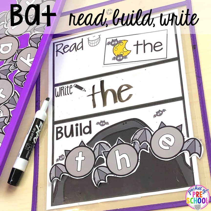 Bat sight word read, build, write to make word work fun. Plus more Nocturnal Animals activities and centers for preschool, pre-k, and kindergarten. #preschool #prek #nocturnalanimalstheme #falltheme