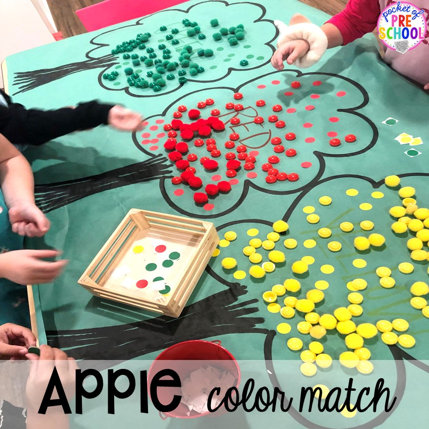 Apple tree color sort plus more apple activities and centers perfect for preschool, pre-k, and kindergarten. #appletheme #preschool #prek #appleactivities