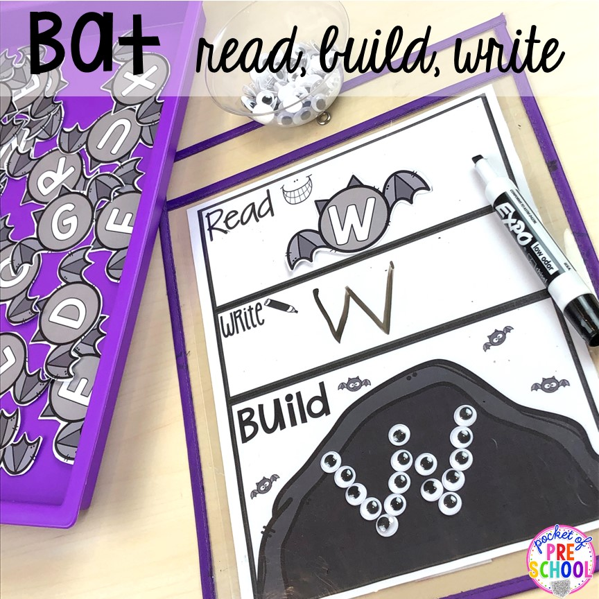 Bat letter read, build, write to make learning letters fun. Plus more Nocturnal Animals activities and centers for preschool, pre-k, and kindergarten. #preschool #prek #nocturnalanimalstheme #falltheme