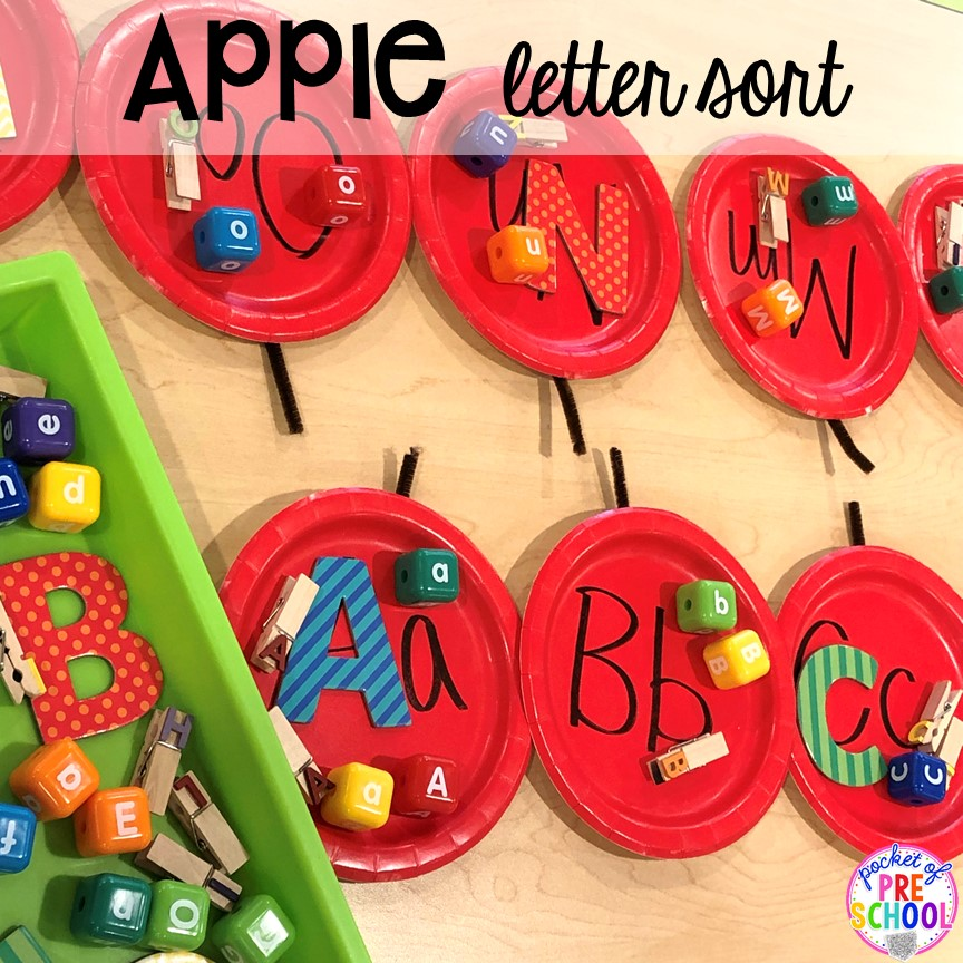 Apple letter sort plus more apple activities and centers perfect for preschool, pre-k, and kindergarten. #appletheme #preschool #prek #appleactivities