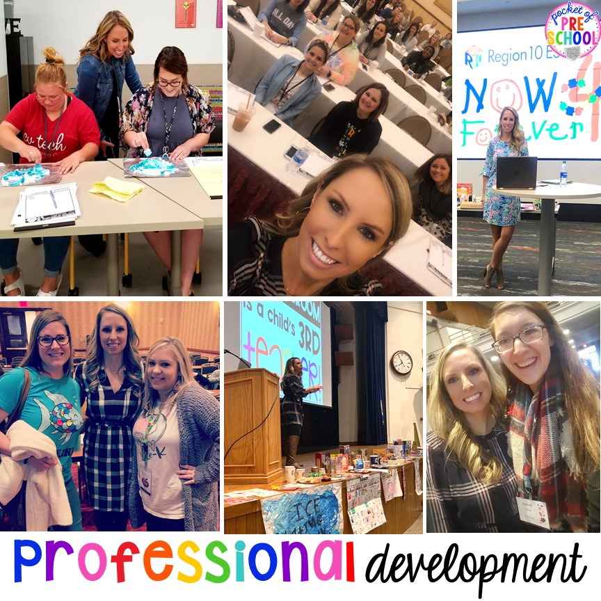 Professional development teacher training for preschool, pre-k, and kindergarten teachers that inspires teachers with strategies, ideas, and activities they can take back to their classroom and implement the next day.