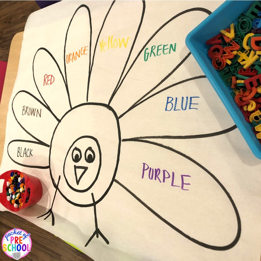 Turkey letter sort and turkey color sort using letter magnets and color counters. This activity is perfect for preschool, pre-k, and kindergarten kiddos. #turkeytheme #lettergame #letteractivity #preschool #prek