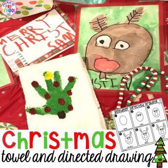 Christmas handprint towel (parent gift) and FREE reindeer directed drawing is fun for preschool, pre-k, and kindergarten kiddos. #preschool #prek #handprintcraft #parentgift #directeddrawing