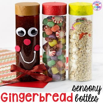 Gingerbread sensory bottles perfect for Christmas time or January. #sensorybottles #gingerbreadtheme #preschcool #prek #toddler