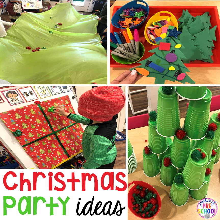 Christmas classroom party ideas - quick, easy, and dollar store finds! for preschool, pre-k, or lower elementary. #christmasparty #preschool #prek #kindergarten #schoolparty