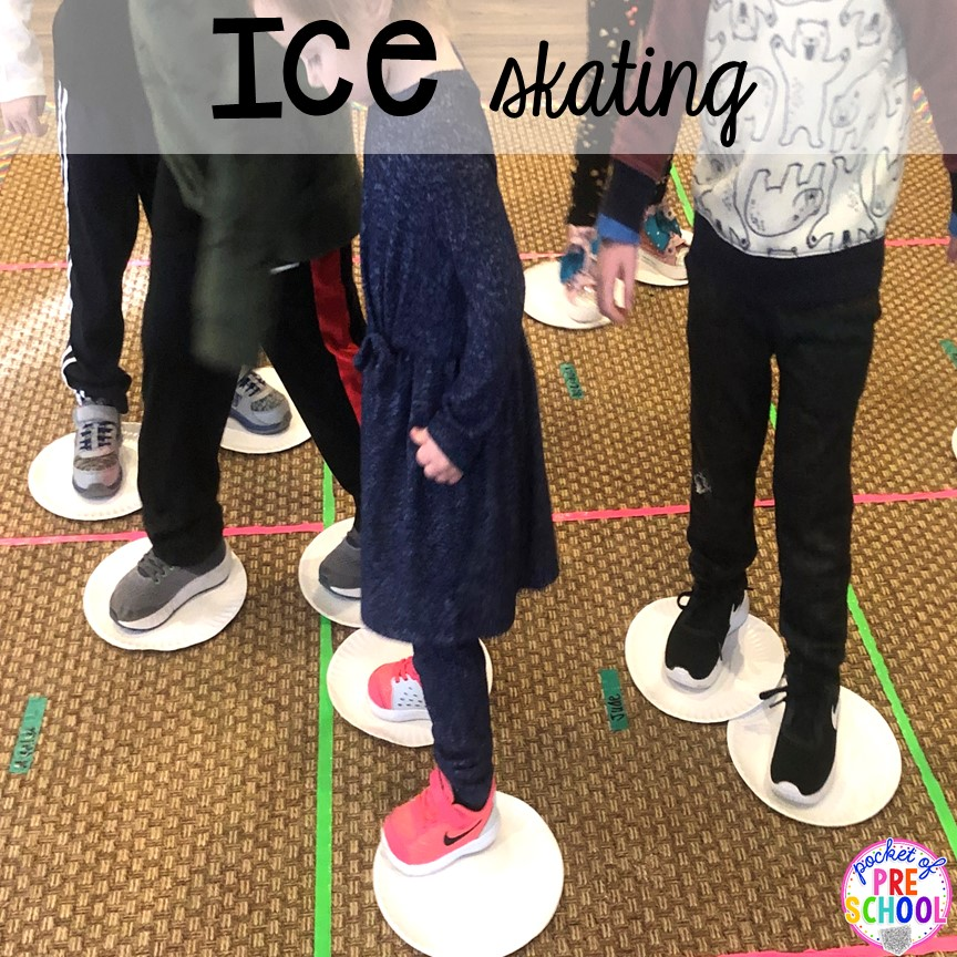 Ice skating for a classroom party plus more Christmas classroom party ideas - quick, easy, and dollar store finds! for preschool, pre-k, or lower elementary. #christmasparty #preschool #prek #kindergarten #schoolparty