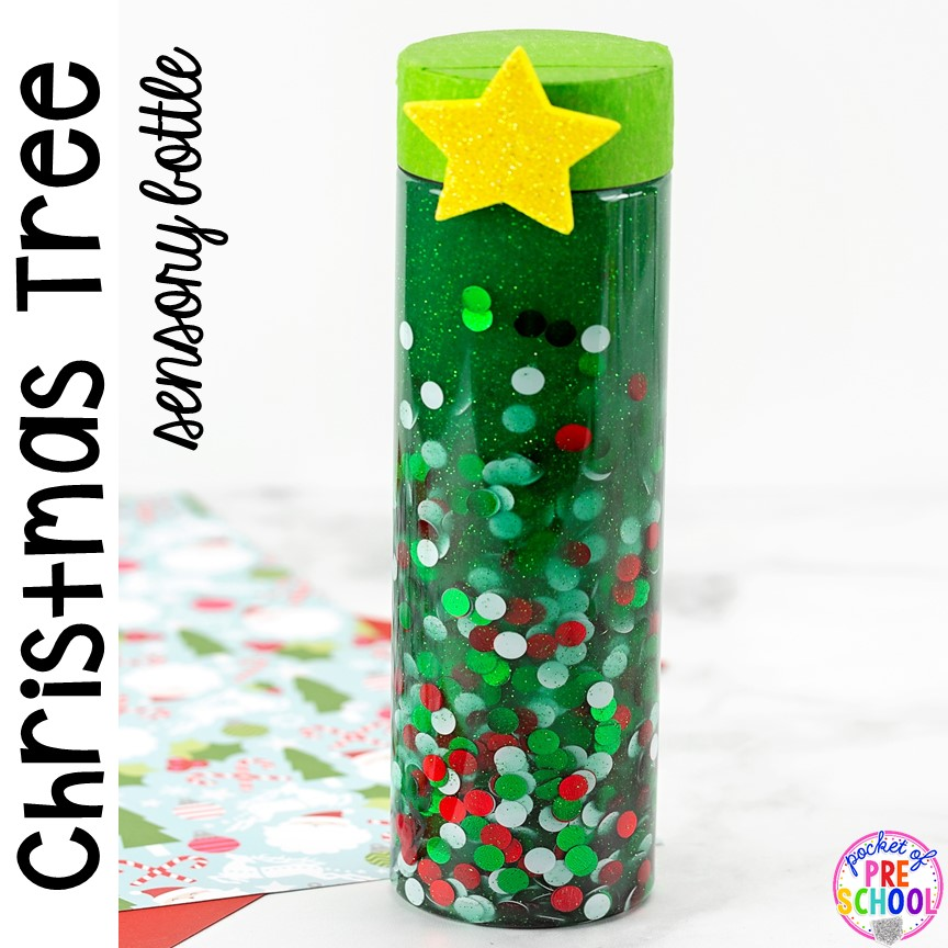 Christmas TREE sensory bottle - so much fun and so calming for preschool, pre-k, and toddlers! Put in the safe place for the holidays. #sensorybottles #sensory #christmassensory #preschool #prek