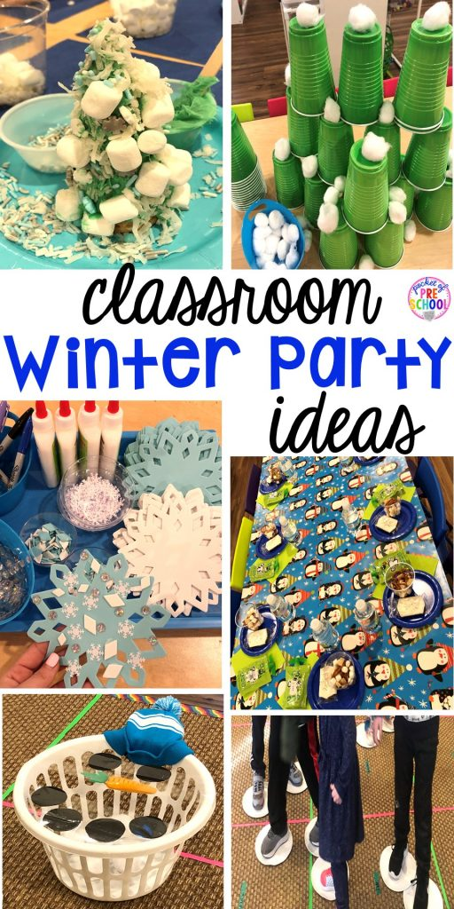 Winter classroom party ideas - easy, low prep, and fun for preschool, pre-k, or lower elementary. #winterparty #preschool #prek #kindergarten #schoolparty