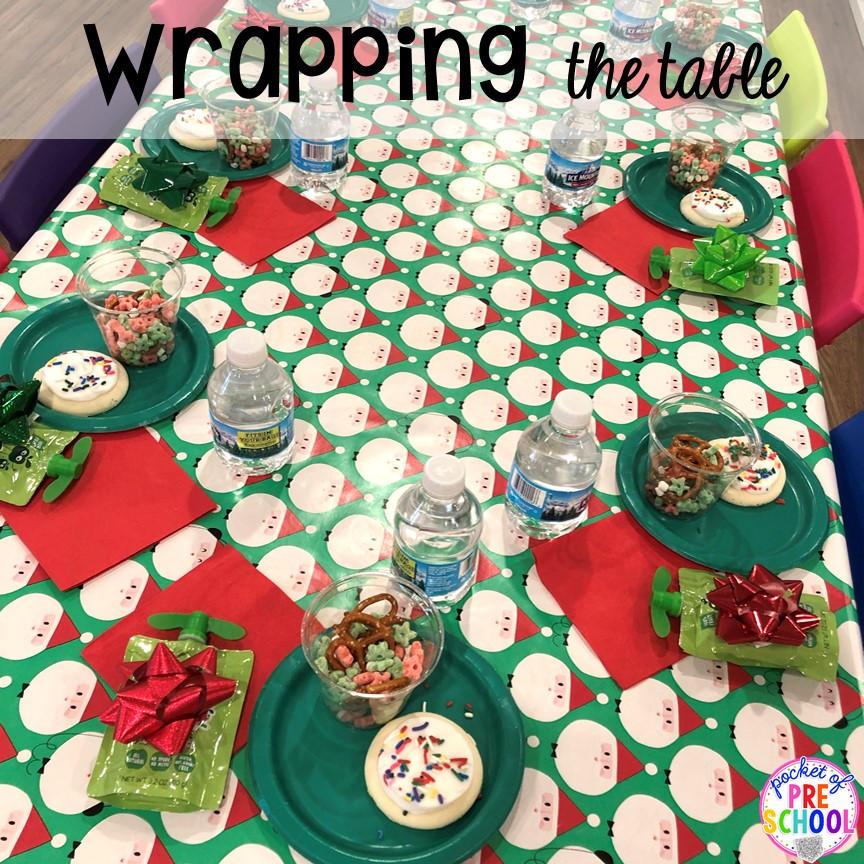 Wrap the table with wrapping paper for each clean up! Plus Christmas classroom party ideas - quick, easy, and dollar store finds! for preschool, pre-k, or lower elementary. #christmasparty #preschool #prek #kindergarten #schoolparty
