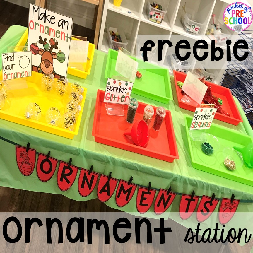 Ornament station FREEBIE for classroom parties for preschool, pre-k, or lower elementary. #christmasparty #preschool #prek #kindergarten #schoolparty