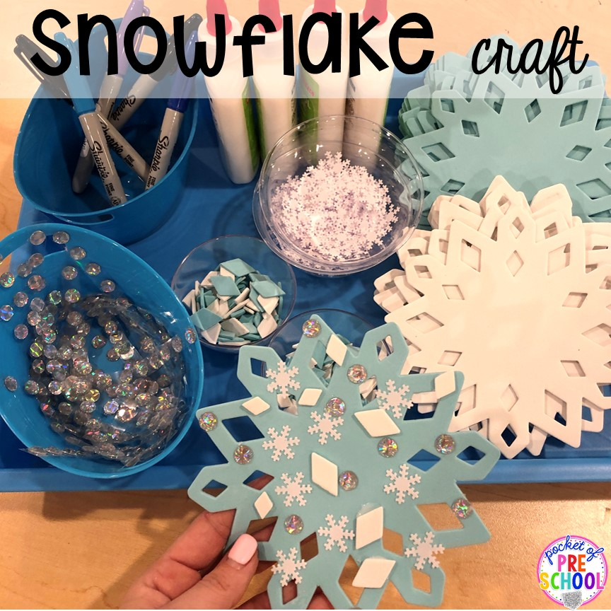 Foam snowflake craft for a winter classroom party! Plus more Winter classroom party ideas - easy, low prep, and fun for preschool, pre-k, or lower elementary. #winterparty #preschool #prek #kindergarten #schoolparty