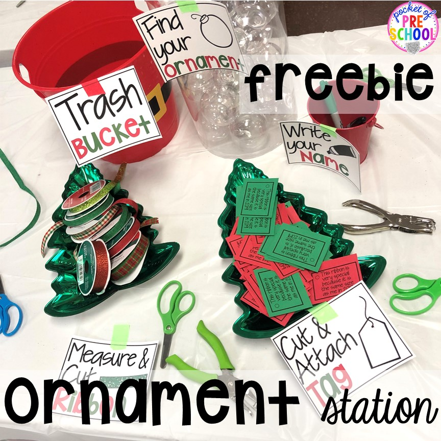 Ornament station freebie and ornament printable! Plus more Christmas classroom party ideas - quick, easy, and dollar store finds! for preschool, pre-k, or lower elementary. #christmasparty #preschool #prek #kindergarten #schoolparty
