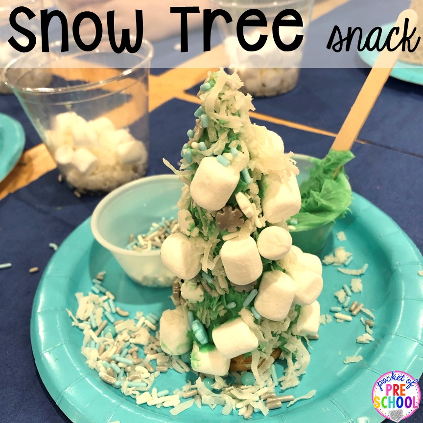 Snow tree snack! Plus more Winter classroom party ideas - easy, low prep, and fun for preschool, pre-k, or lower elementary. #winterparty #preschool #prek #kindergarten #schoolparty