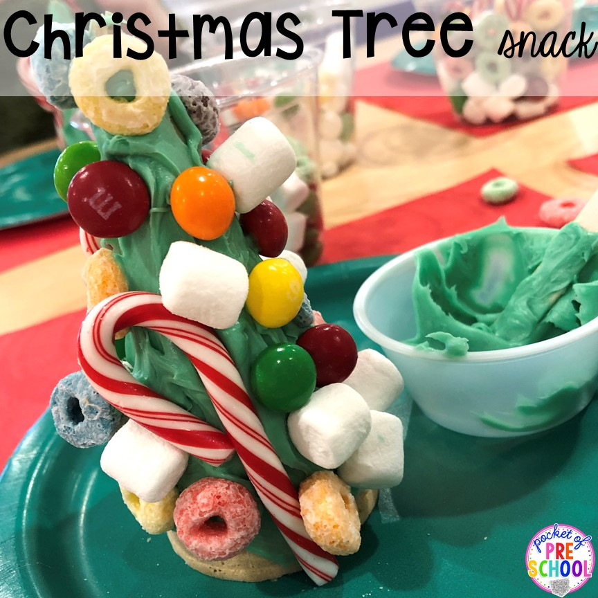 Christmas tree snack plus more Christmas classroom party ideas - quick, easy, and dollar store finds! for preschool, pre-k, or lower elementary. #christmasparty #preschool #prek #kindergarten #schoolparty