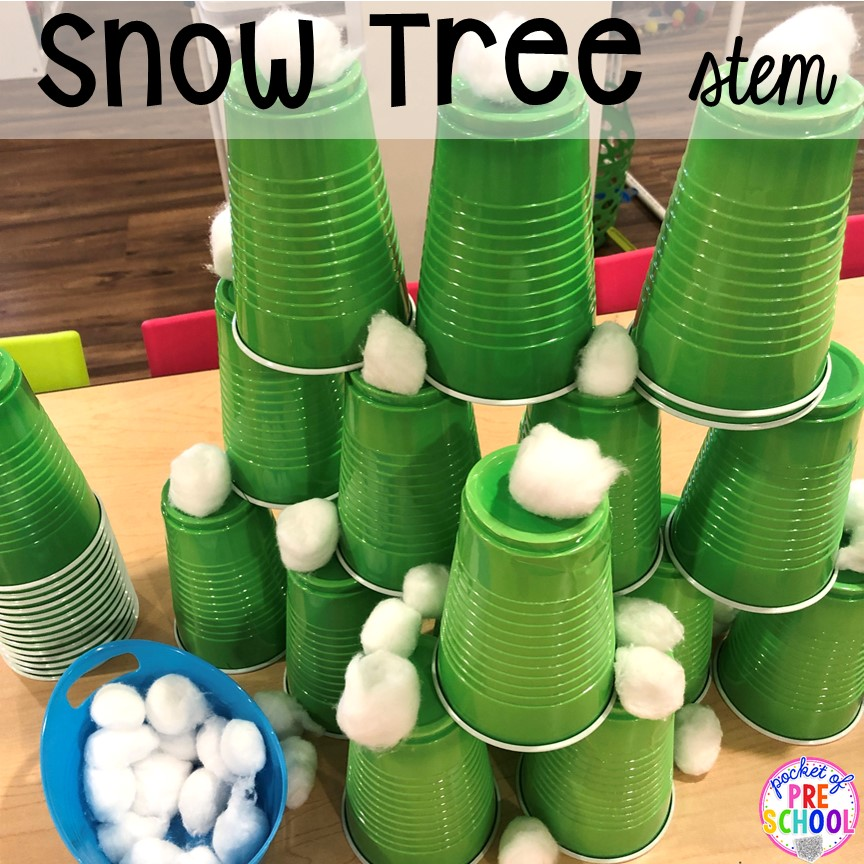 Snow Tree STEM challenge for a winter classroom party! Plus more Winter classroom party ideas - easy, low prep, and fun for preschool, pre-k, or lower elementary. #winterparty #preschool #prek #kindergarten #schoolparty
