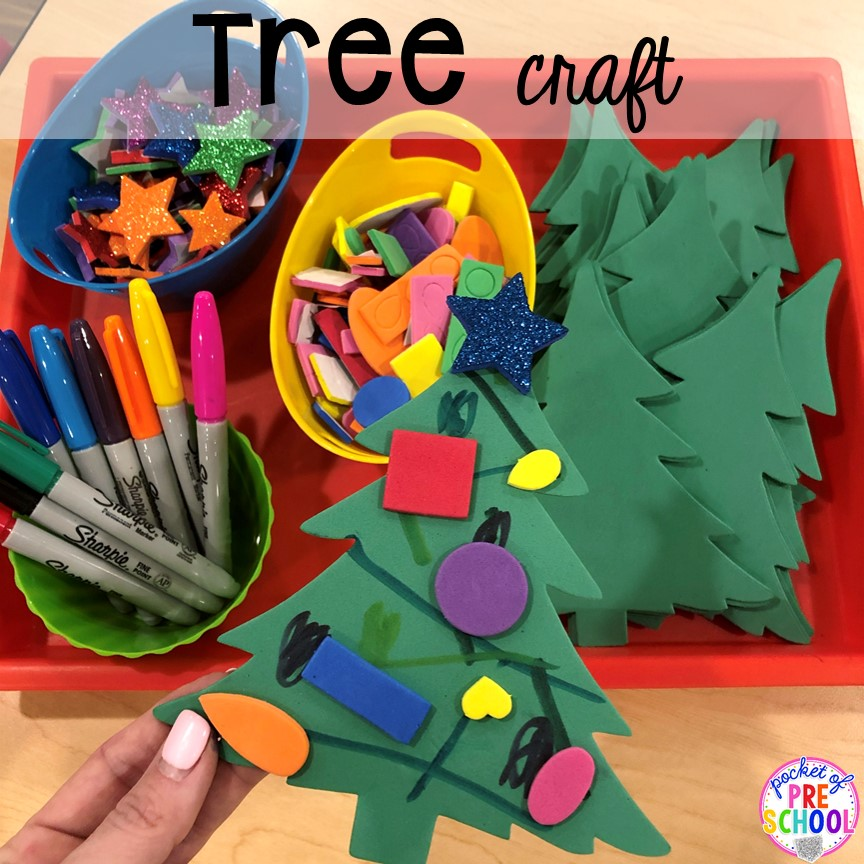 Christmas tree craft plus more Christmas classroom party ideas - quick, easy, and dollar store finds! for preschool, pre-k, or lower elementary. #christmasparty #preschool #prek #kindergarten #schoolparty