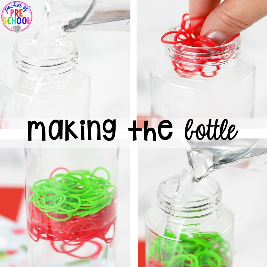 Christmas sensory bottles - so much fun and so calming for preschool, pre-k, and toddlers! Put in the safe place for the holidays. #sensorybottles #sensory #christmassensory #preschool #prek