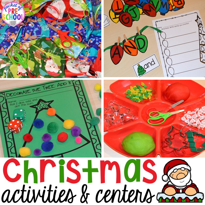 Christmas activities and centers for early childhood classrooms.