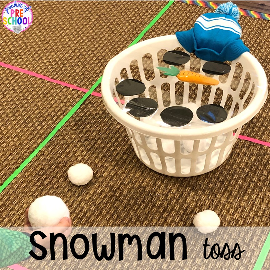 Snowman toss - a fun gross motor game for a winter classroom party! Plus more Winter classroom party ideas - easy, low prep, and fun for preschool, pre-k, or lower elementary. #winterparty #preschool #prek #kindergarten #schoolparty