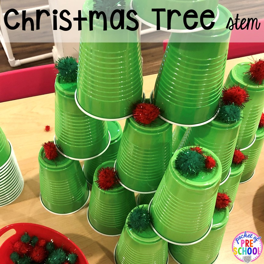 Christmas tree STEM with green cups and pom poms for a classroom party! for preschool, pre-k, or lower elementary. #christmasparty #preschool #prek #kindergarten #schoolparty