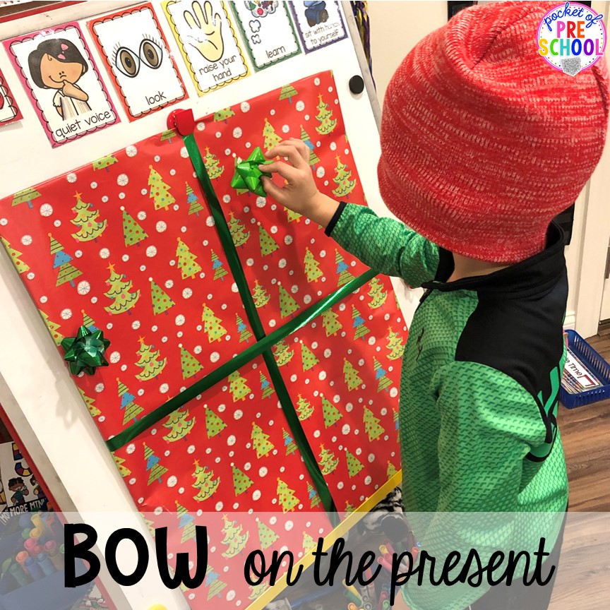Pin the bow on the present for a classroom Christmas party! Plus more Christmas classroom party ideas - quick, easy, and dollar store finds! for preschool, pre-k, or lower elementary. #christmasparty #preschool #prek #kindergarten #schoolparty
