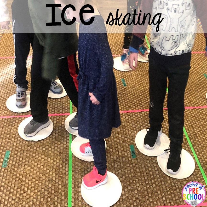 Paper paper ice skating for a fun gross motor activity or winter party activity! Perfect for preschool, pre-k, or lower elementary. #winterparty #preschool #prek #kindergarten #schoolparty