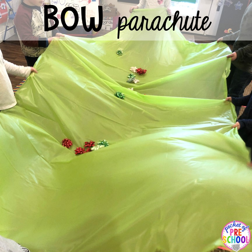 Bow parachute game plus more Christmas classroom party ideas - quick, easy, and dollar store finds! for preschool, pre-k, or lower elementary. #christmasparty #preschool #prek #kindergarten #schoolparty