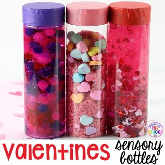 Valentines Sensory Bottles to help students calm down, for sensory processing, or fun science exploration. #sensory bottles #preschool #prek #toddler