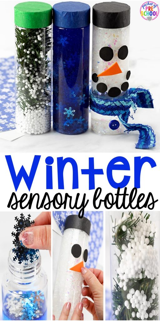 Winter Sensory Bottles to help students calm down, for sensory processing, or fun science exploration. #sensory bottles #preschool #prek #toddler