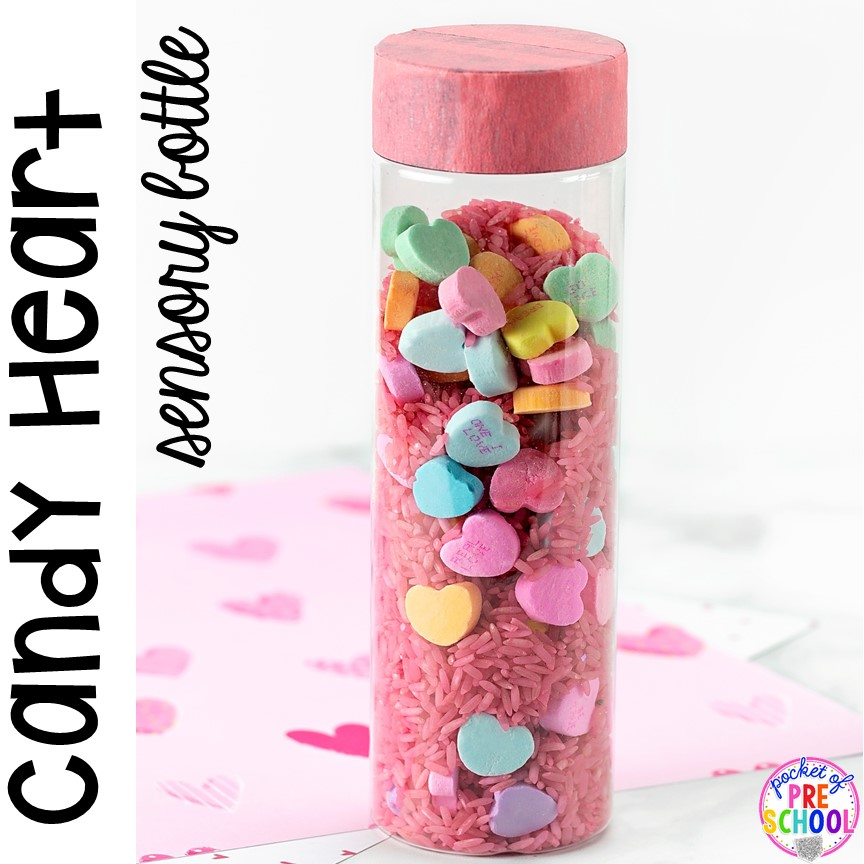 Candy Heart Valentines Sensory Bottles to help students calm down, for sensory processing, or fun science exploration. #sensory bottles #preschool #prek #toddler