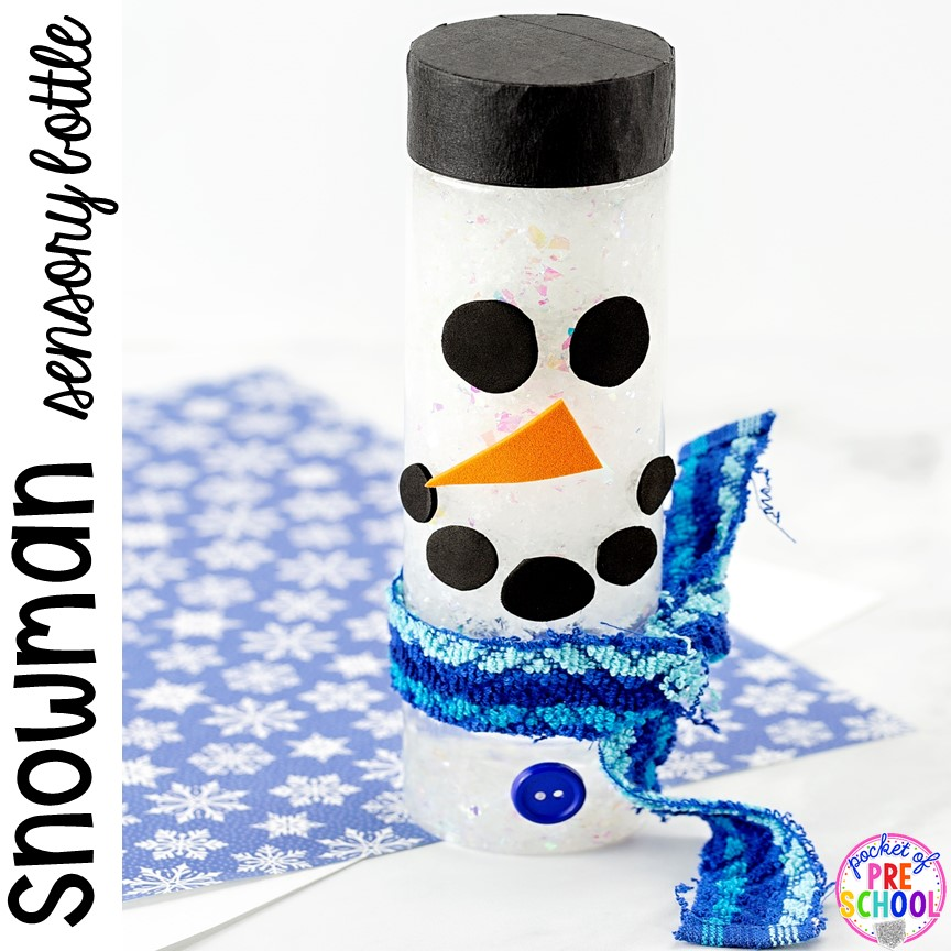 Snowman Sensory Bottles to help students calm down, for sensory processing, or fun science exploration. #sensory bottles #preschool #prek #toddler