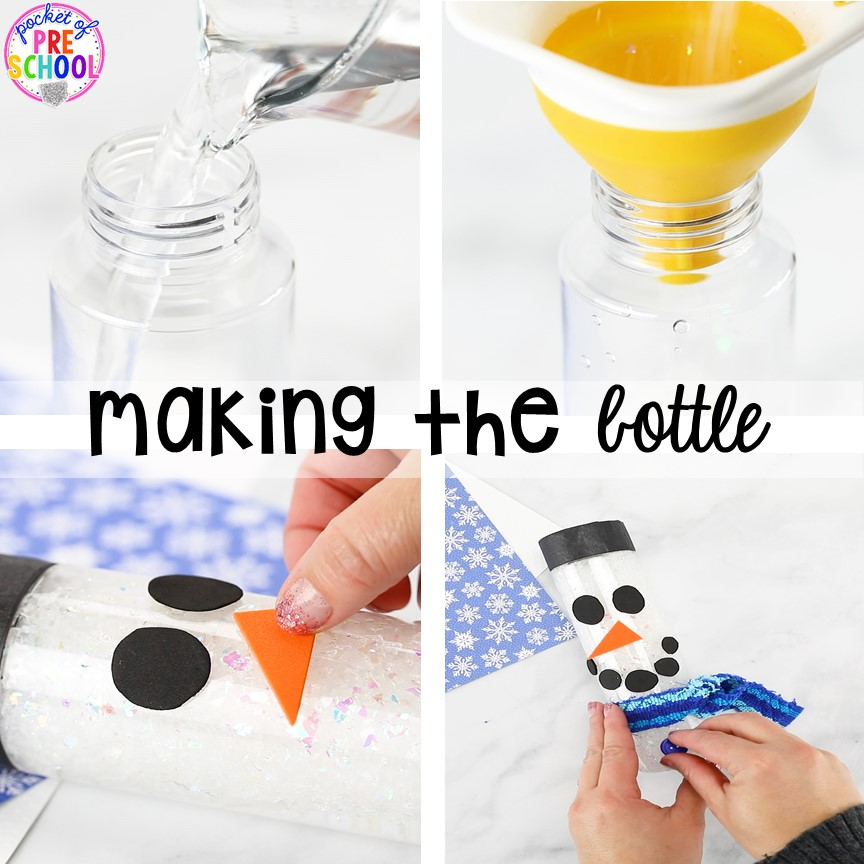 How to make a snowman sensory bottle!