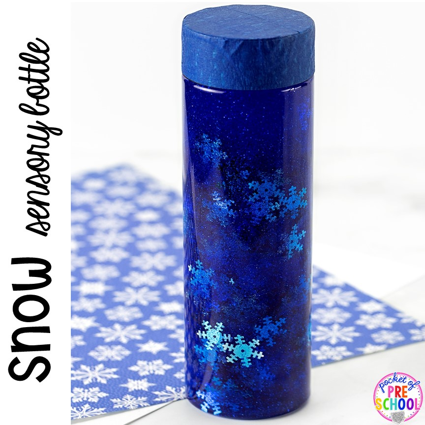 Snow sensory bottle to help students calm down, for sensory processing, or fun science exploration. #sensory bottles #preschool #prek #toddler