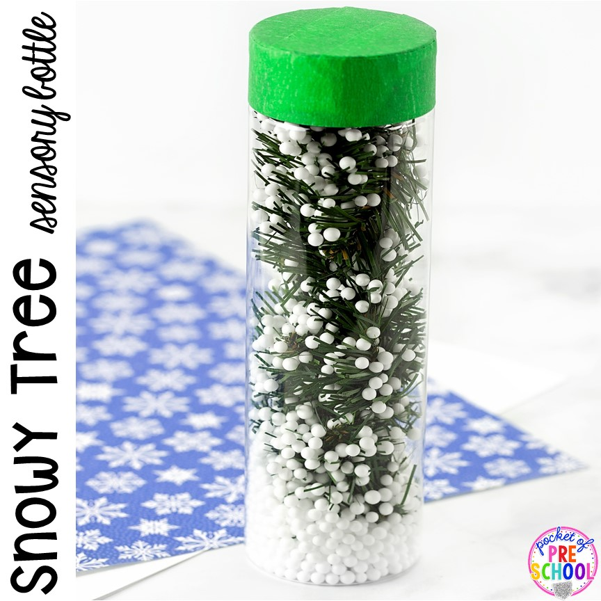 Snow tree in the Winter Sensory Bottles to help students calm down, for sensory processing, or fun science exploration. #sensory bottles #preschool #prek #toddler