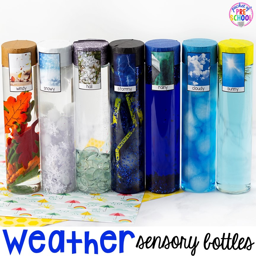 Weather sensory bottles is af fun way to explore the weather inside and FREE weather photo labels. #weathertheme #preschool #prek #toddler #sensorybottles