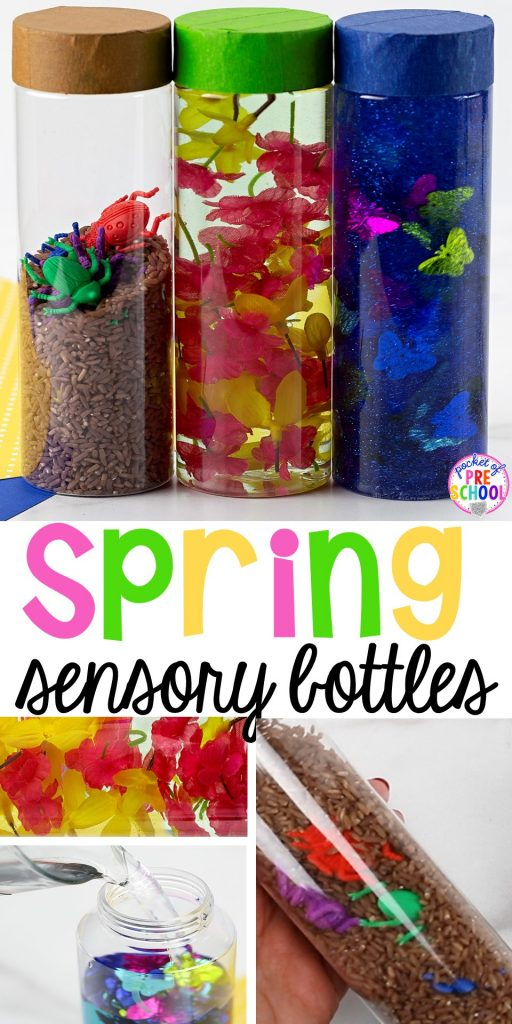 Spring sensory bottles ideas perfect with a spring theme for your toddler, preschool, or pre-k classroom. #preschool #prek #toddler #springtheme #sensorybottles
