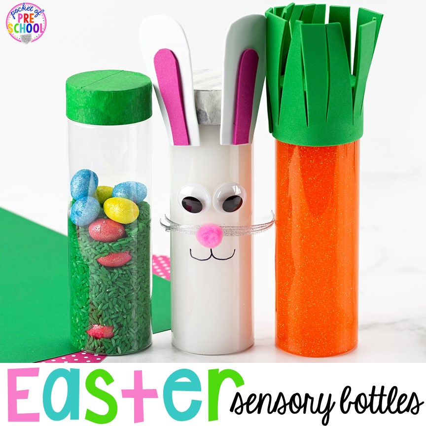 Easter sensory bottles for an Easter theme (bunny, carrot, and egg hunt)! #preschool #toddler #prek #sensorybottles #eastertheme